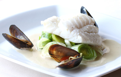 Mussel and halibut dish